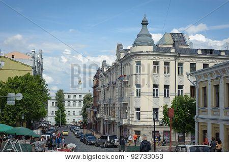Ukraine, Kyiv - 16 May, 2015: Andriyivsky Uzviz (famous Tourist Street), Kyiv, Ukraine