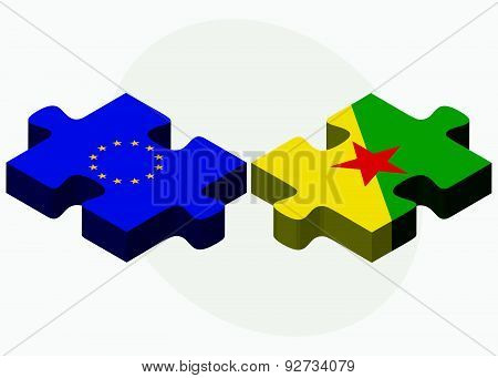 European Union And French Guiana Flags In Puzzle Isolated On White Background