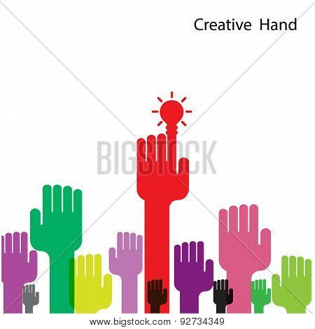 Creative Light Bulb And Hand Icon Abstract Vector Design.
