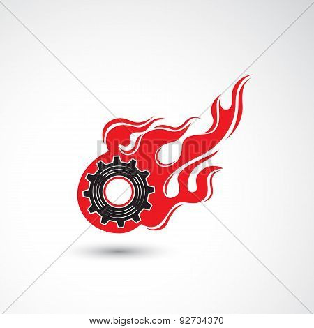 Wheel In Fire Flame Icon Abstract Logo Design Vector Template. Industrial Concept.