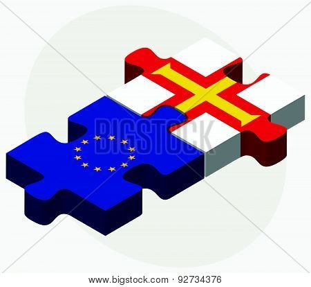 European Union And Guernsey Flags In Puzzle Isolated On White Background