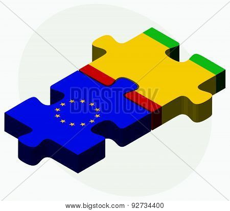 European Union And Guinea Flags In Puzzle Isolated On White Background