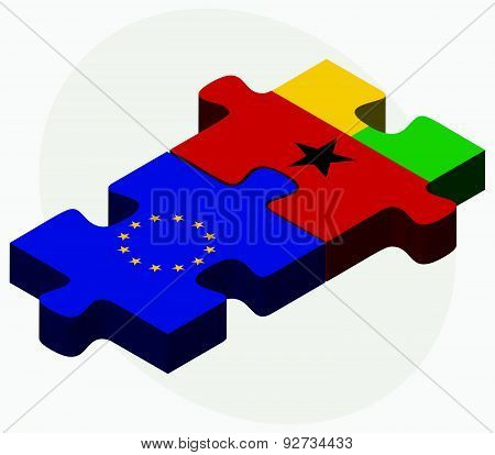 European Union And Guinea-bissau Flags In Puzzle Isolated On White Background