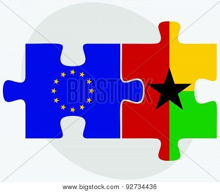 European Union And Guyana Flags In Puzzle Isolated On White Background