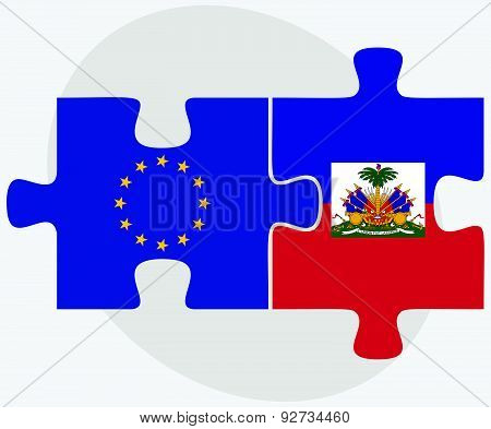 European Union And Haiti Flags In Puzzle Isolated On White Background