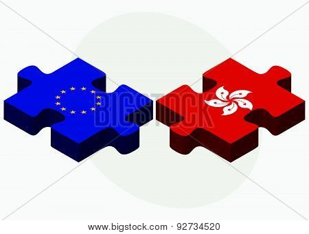 European Union And Hong Kong Sar China Flags In Puzzle