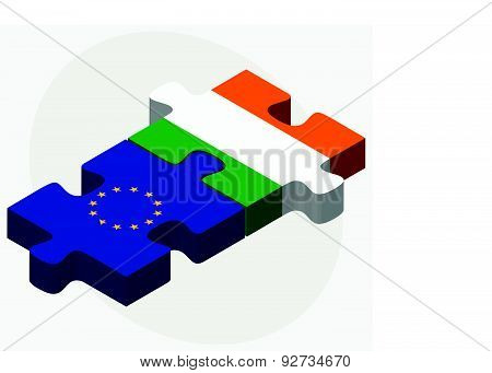 European Union And Iraq Flags In Puzzle