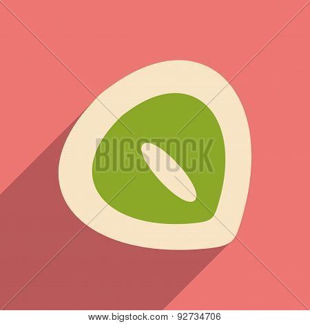 Flat with shadow icon and mobile application chestnut