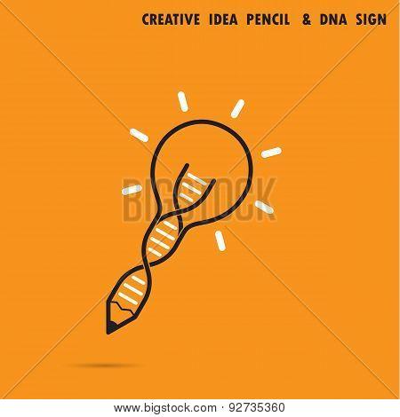 Creative Bulb Idea Pencil Concept And Dna Symbol. Education And Business Concept.