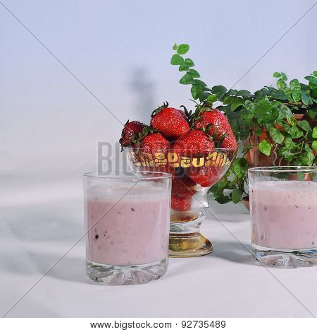 Milk smoothie with strawberries.