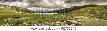 Panoramic View Across Lac De Nino In Corsica
