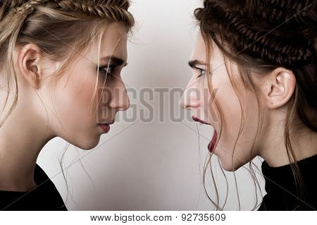 Fashion Brunette Girl Screams At Blobde