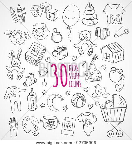 Hand drawn baby and child icons and objects