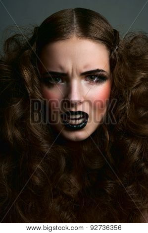 Angry Fashion Beauty Female Model