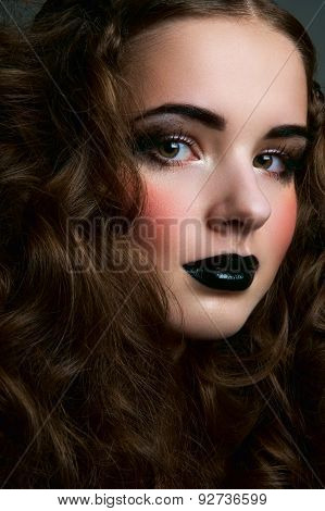 Girl With Black Lips And Blush