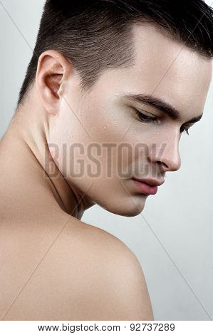 Fashion Male With Drops On Face