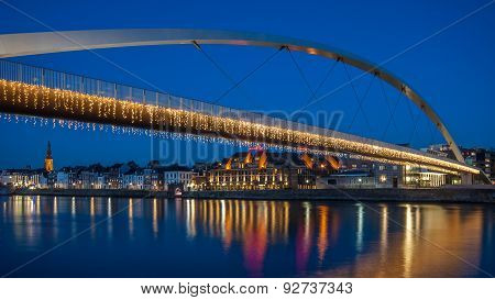 Hoge Brug in Maastricht during blue hour