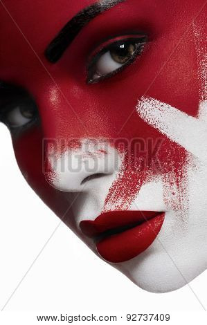 Beautiful Female Model With White Skin And Blood On Face