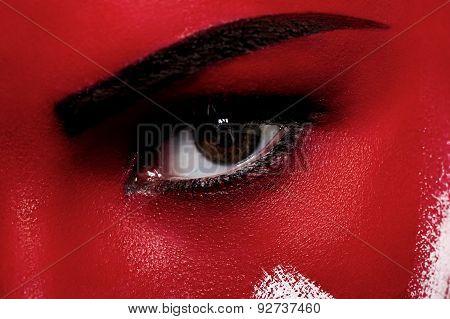 Bloody Makeup. Closeup Beauty Face With Blood