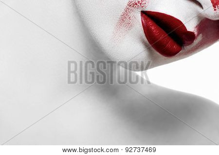 Fashion Beauty Female Model With White Skin And Bloody Lips