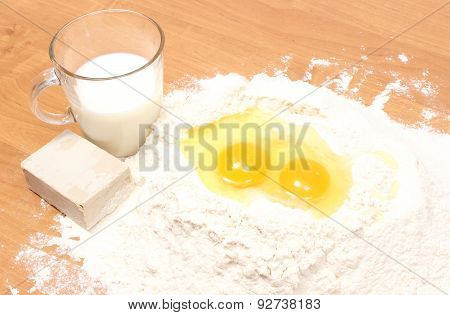 Baking Ingredients Lying On Table
