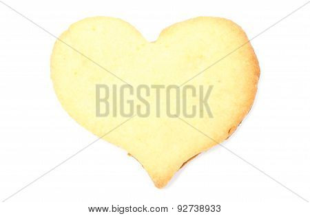 Valentine Heart Of Yeast Cake On White Background