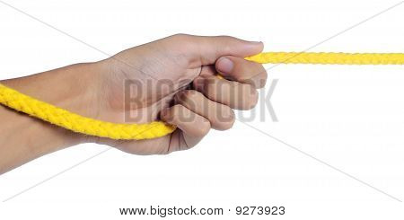 hand was pulling yellow rope