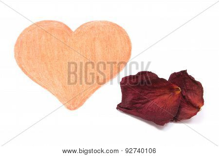 Heart Shape And Dried Petals Of Rose On White Background