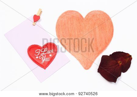 Drawing Of Shape Heart With Envelope And Dried Petals