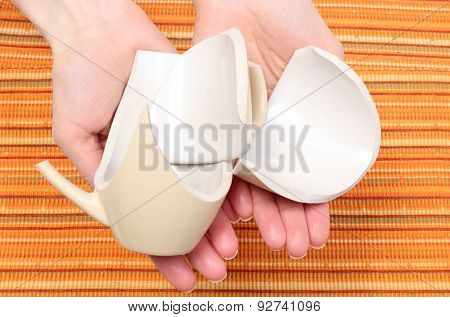 Broken Cup Lying On Hand Of Woman