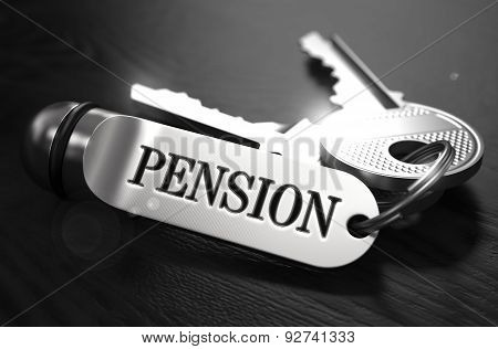 Pension Concept. Keys with Keyring.