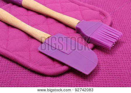Closeup Of Purple Silicone Kitchen Accessories
