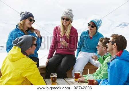 Group Of Friends Enjoying Drink In Bar At Ski Resort
