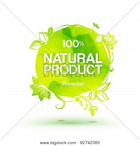 Watercolor 100 Percent Natural Product Label