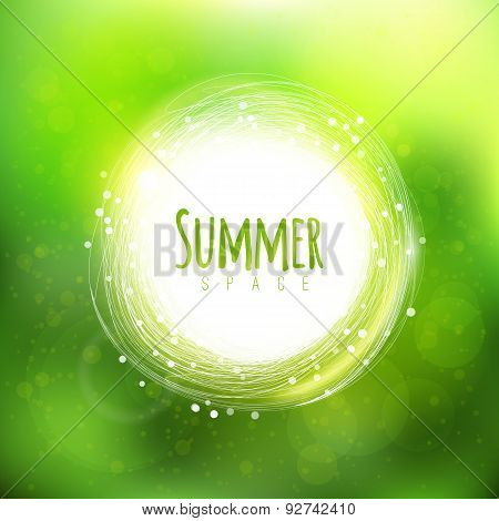 Summer Space Background With Circle Label