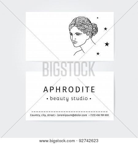 vector design of business cards for beauty salon, hairdressers or plastic surgery
