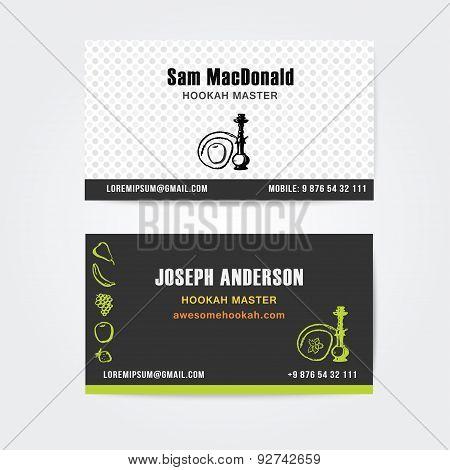 Business card design  vector template of hookah shisha bar