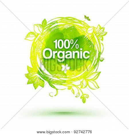 Watercolor Eco Friendly Product Drawing Label