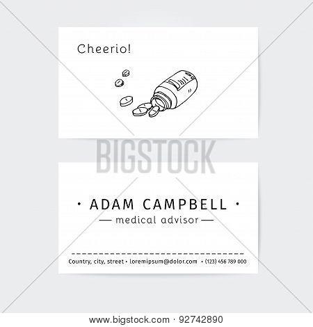 business cards design template for medical advisor  or pharmacist