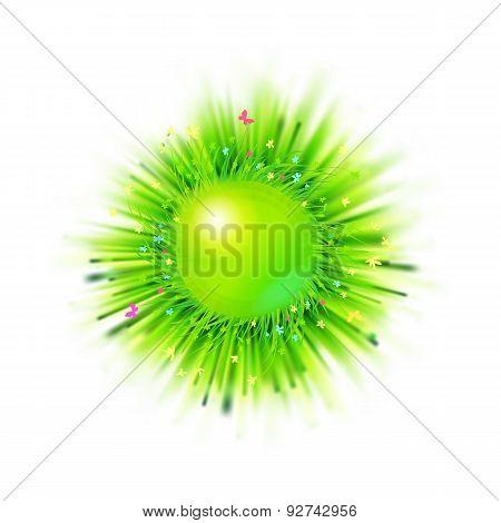 Summer Holidays Blur Grass Circle Emblem With Floral Elements