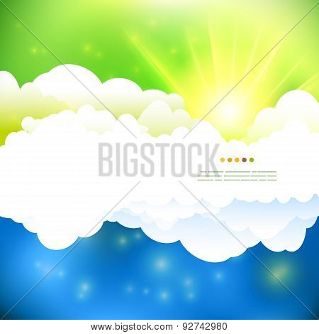 Summer Green And Blue Cloudy Sky With Sun Illustration
