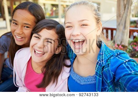 Group Of Girls Hanging Out In Mall Together