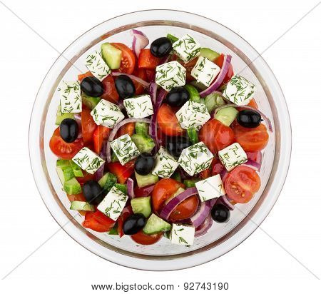 Transparent Glass Bowl With Greek Salad Isolated On White