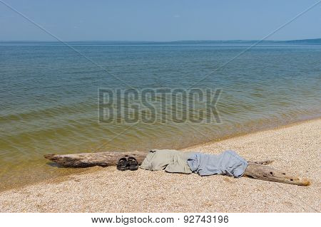 Wild beach on a Dnepr river