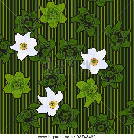 Spring Flowers Seamless Pattern White Narcissuses