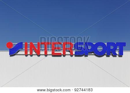 Intersport logo on a façade
