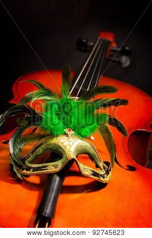 Beautiful Venetian mask with feathers on cello