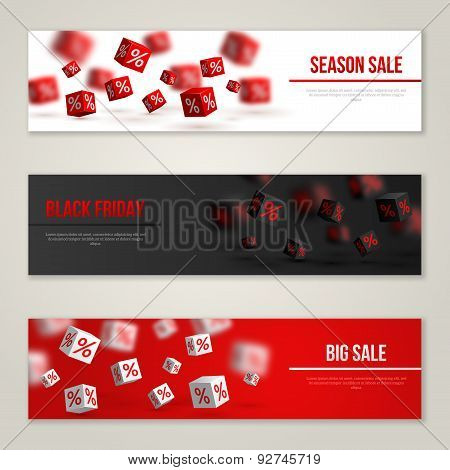 Sale Horizontal Banners Set. Vector Illustration.