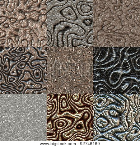 Set of Metal Bumps Seamless Generated Textures