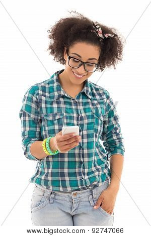 Sms Concept - Beautiful African American Teenage Girl With Mobile Phone Isolated On White
